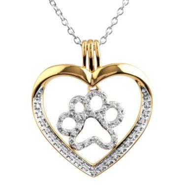 f252fccf68cb9 ASPCA® Tender Voices™ ¼ CT. T.W. Diamond Paw Print Heart Pendant Necklace  found · Semi JoiasCoração Pingente ...