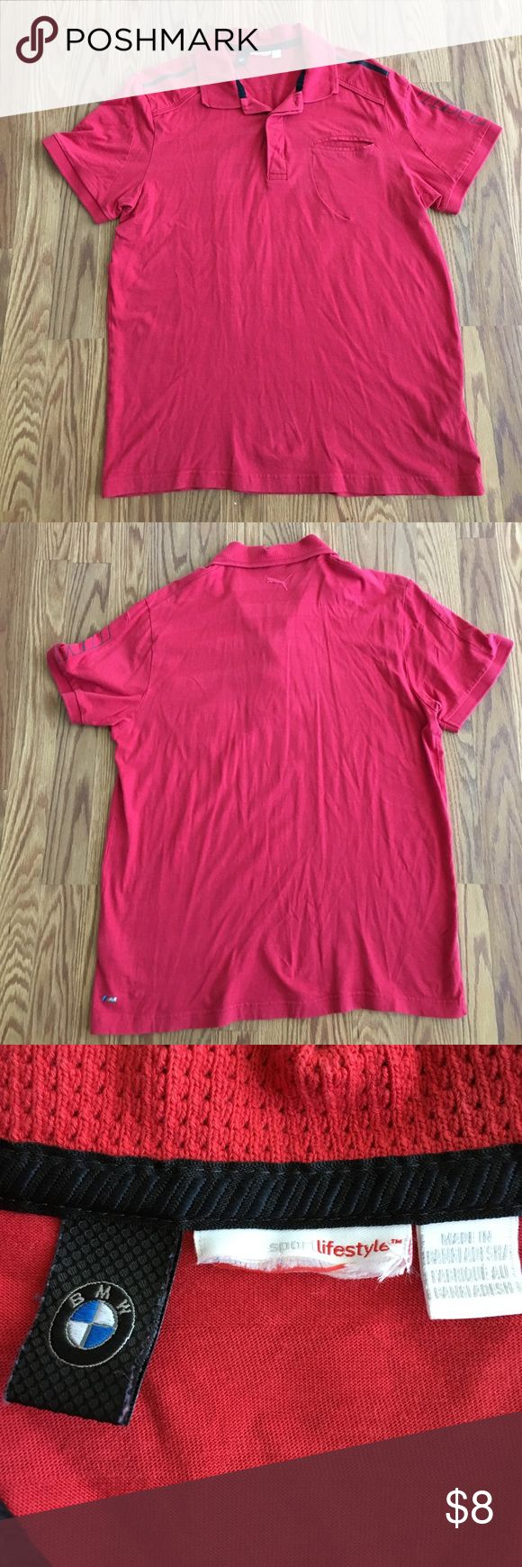Mens PUMA BMW Collard Shirt This Collard PUMA shirt is part of their BMW collection. The size tag was cut off for comfort (please view pictures) Its a size Medium but runs a little small. 🔴👕🔴 Bundle and save! Puma Shirts Tees - Short Sleeve
