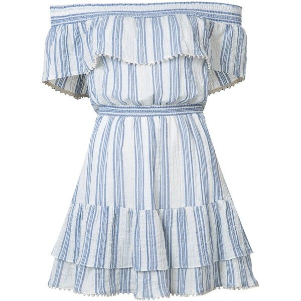 LoveShackFancy Off the Shoulder Striped Dress found on Polyvore featuring dresses, vestidos, kirna zabete, kzloves, new bohemian, blue striped dress, blue stripe dress, blue cotton dress, boho style dresses and striped dress