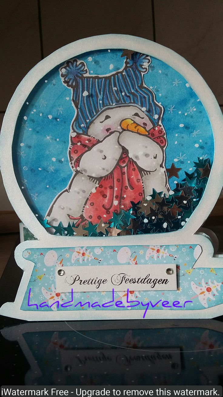 Image by Mo Manning colouring with polychromos pencils,  snowglobe by Dutch Doobadoo