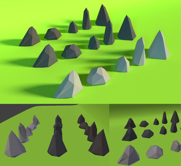 LowPoly Stones .Pack3