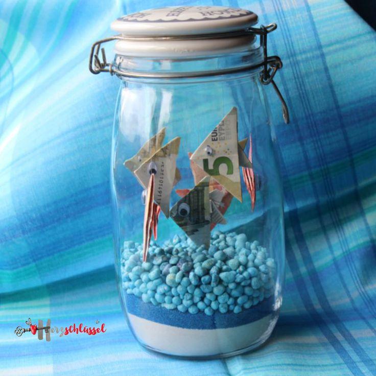 Herzschlüssel: Fische im GlasFische im Glas, #DIY, Geldgeschenk