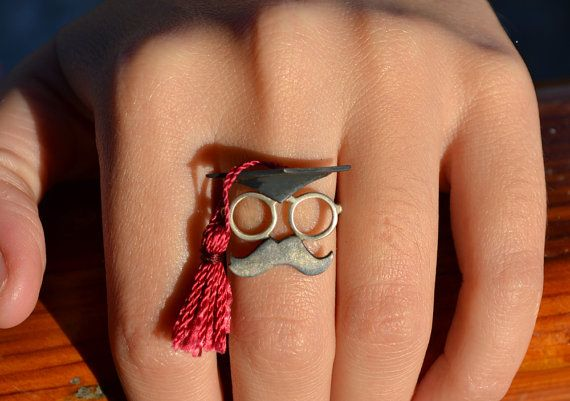 Graduation Cap Ring - Sterling Silver - Unique Graduation Gift Idea - Fashion Geek Gift For Her - Funny Silver Jewelry - Graduation Jewelry