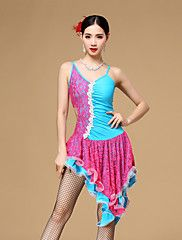 Latin+Dance+Dresses+Women's+Performance+Cotton+/+Polyester+/+Lace+Crystals/Rhinestones+/+Lace+/+Pleated+/+Ruched+1+Piece+–+EUR+€+55.70