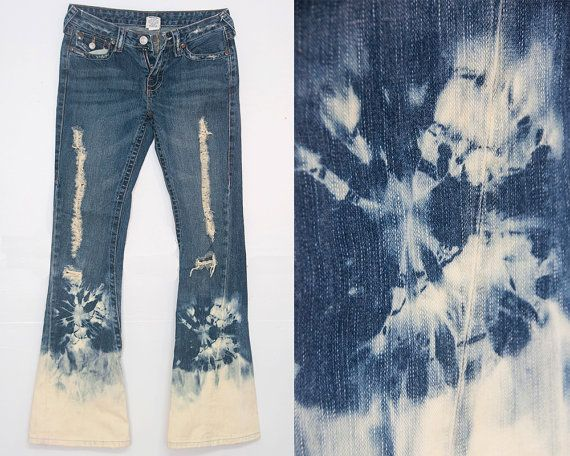Hippie Tie Dyed Bell Bottoms / Acid Wash True Religion Jeans Size 27 / Upcycled Bell Bottom Jeans / Hippie Chic Vintage Festival Retro Style...