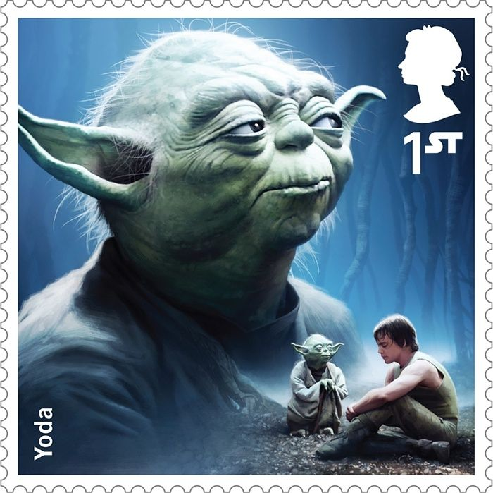 A Royal Mail stamp featuring Yoda
