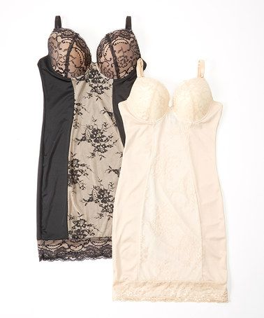 Look at this #zulilyfind! Black & Nude Lace Firm-Control Full Slip Set - Plus Too #zulilyfinds