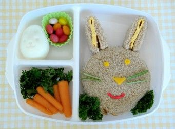 Totally cute Easter-themed Bento box...I HAVE to make some of these cute foods for the kids!