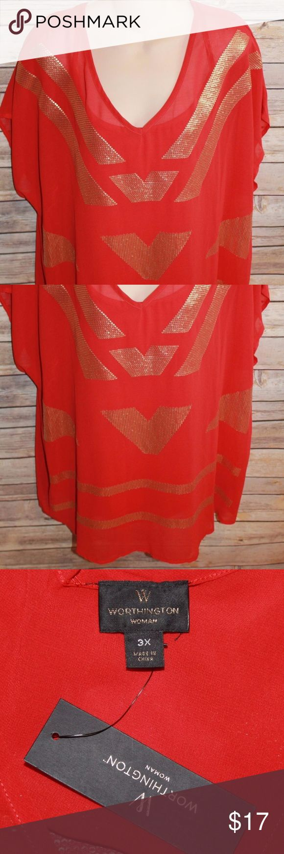 Worthington 2-Piece Red Short Sleeve Top 3X HW481 Worthington  Brand New With Tags MSRP $40  Women's Plus Size 3X Color: Red Gold Sequin Top Short Sleeved  2-Pieced Worthington Tops Blouses