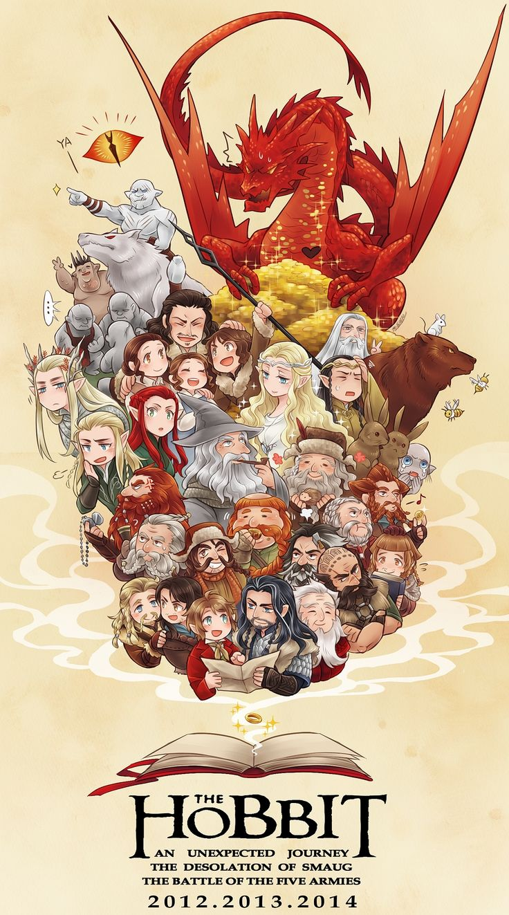 """Fanart poster for """"The Hobbit"""" - Art by Shinzui - this is so cute. Sebastian is even in here!! (And I love the bunnies)"""