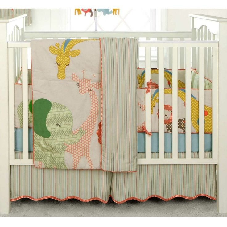 Complete the look of your nursery with this adorable Migi Circus 3-piece bedding set from BananaFish. The set includes a comforter, fitted sheet and a dust ruffle.