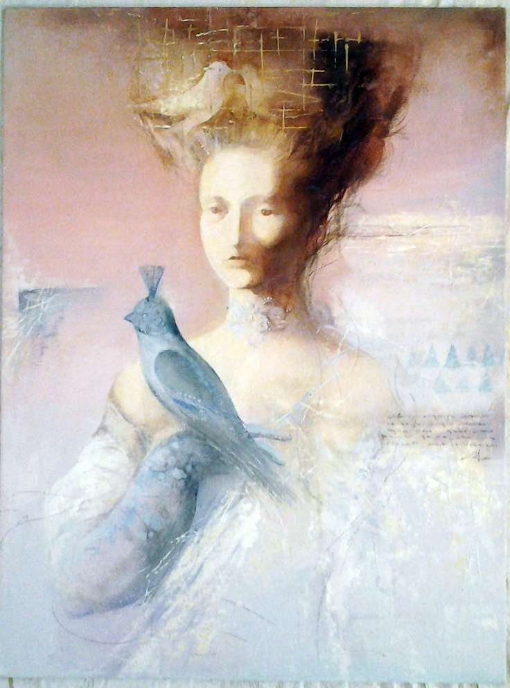 The Bird`s Queen, Oil on Canvas Panel Panel, original painting $80 (in euro) 30 cm x 80 cm