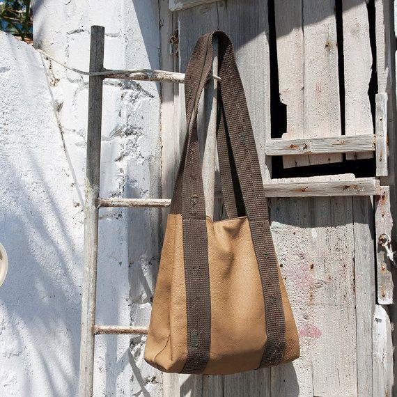 Leather tote bag Cross body bag Fall cross by ElenaVandelliBags