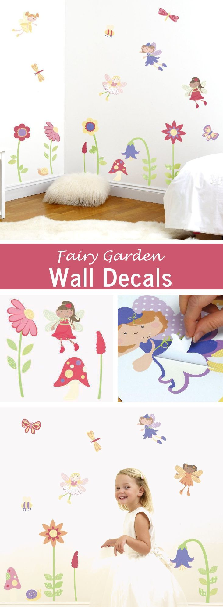 74 best girls room decor images on pinterest girl room decor decorate a beautiful girl s nursery or bedroom with flower and fairy bedroom decorations 30 pretty fairy garden wall decals will transform girls bedroom s