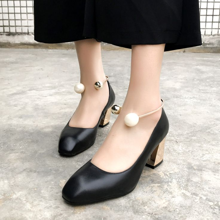 Spring Autumn Office Lady Shoes Womens Square Toe Pumps Woman Square Heeled Black Boat Shoes Ladies High Heels dress Shoe size43