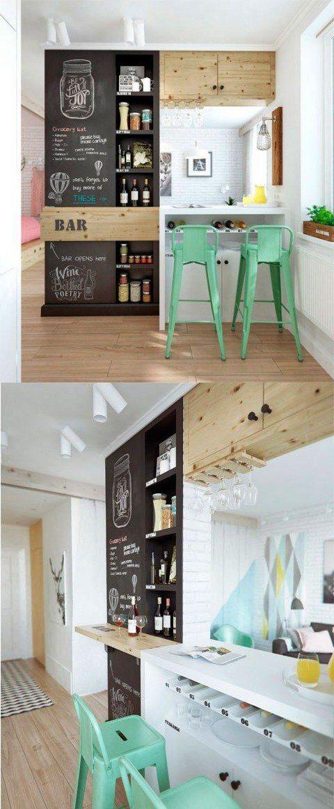 Una pared de pizarra en la cocina / http://www.delikatissen.com/