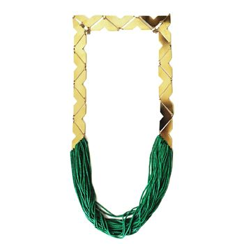 Valley Necklace - Gilt necklace with Malachite beads