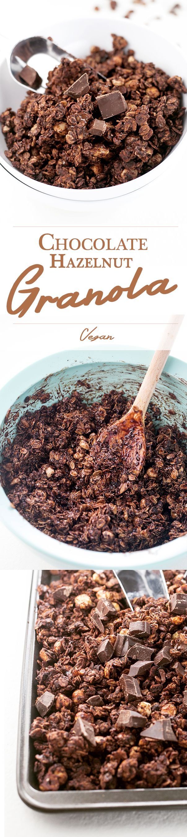 Delicious Chocolate Hazlenut Granola - Vegan, Simple, Delicious. #chocolate #hazelnut #nutella #granola #breakfast #oatmeal