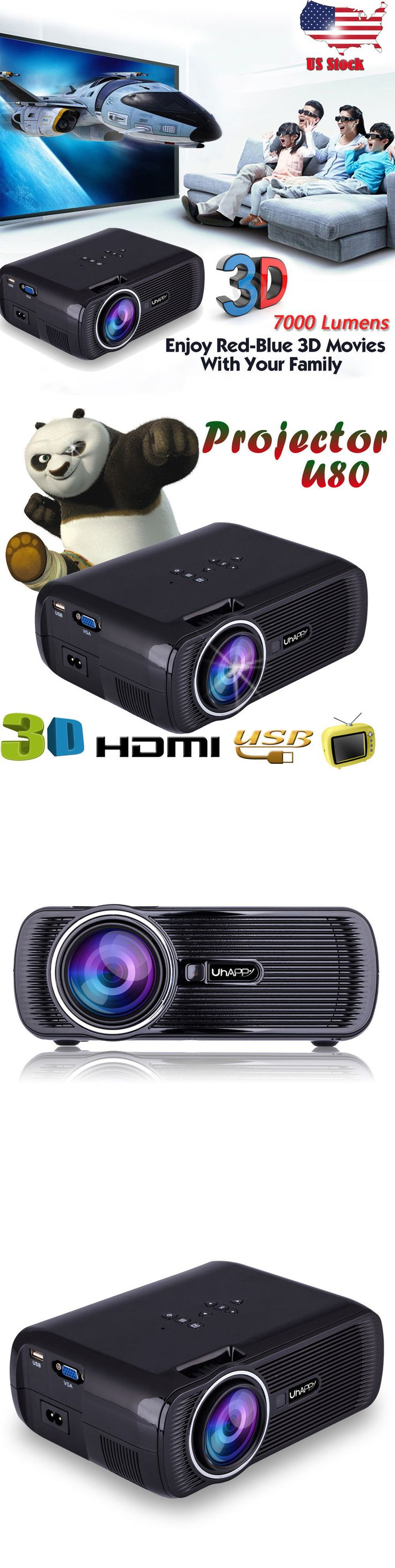 Home Theater Projectors: 7000 Lumens 1080P Hd Multimedia Portable Projector 3D Led Home Theater Cinema Us -> BUY IT NOW ONLY: $99.89 on eBay!