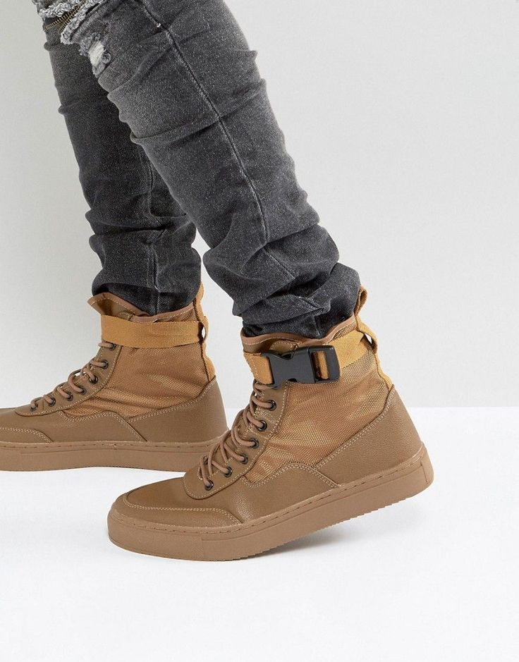 ASOS High Top Sneaker Boots In Tan With Straps - Tan