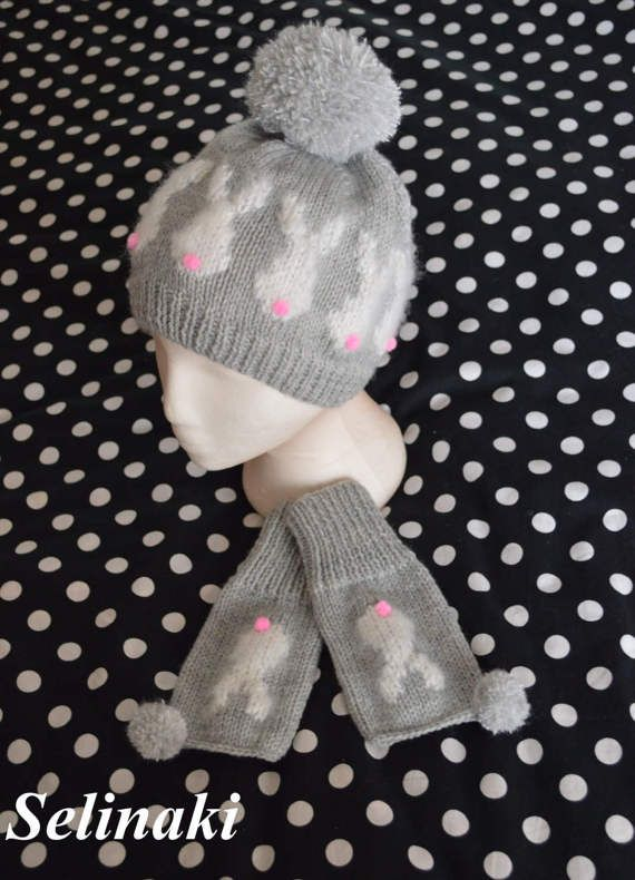 Knit Rabbit Hat Beanie Bunny with Pompom by bySelinaki on Etsy