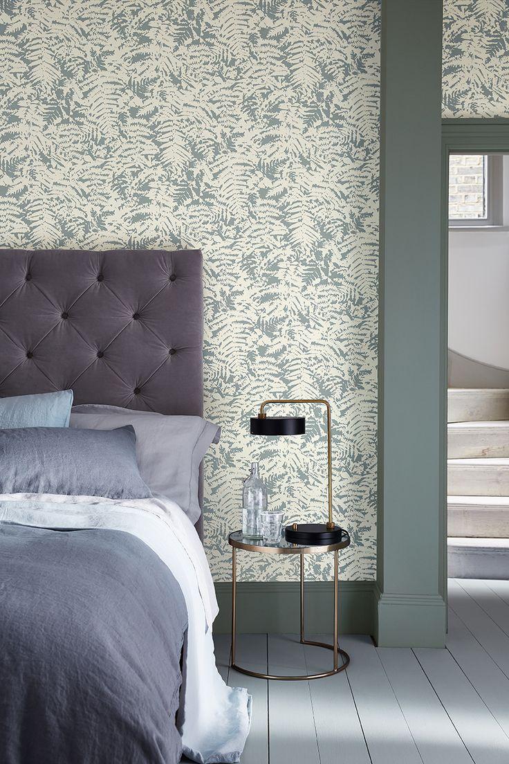 Slaapkamer met blader behang Little Greene