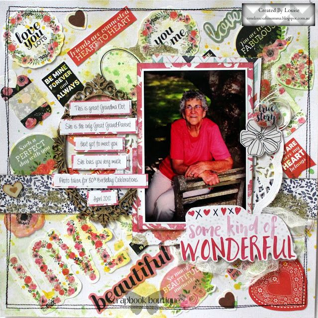 Louise Turner - TimelessCraftMumma created for Scrapbook Boutique using Kaisercraft collectables and Tim Holtz Distress Crayons