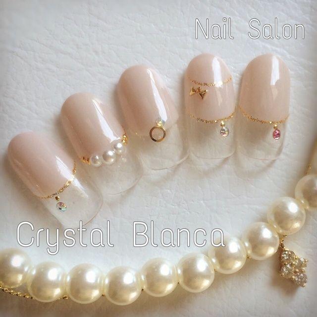 CrystalBlanca * misaki's soft gel, hand, Gureju, deformation French nail ♪…