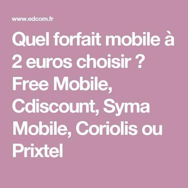Quel forfait mobile à 2 euros choisir ? Free Mobile, Cdiscount, Syma Mobile, Coriolis ou Prixtel