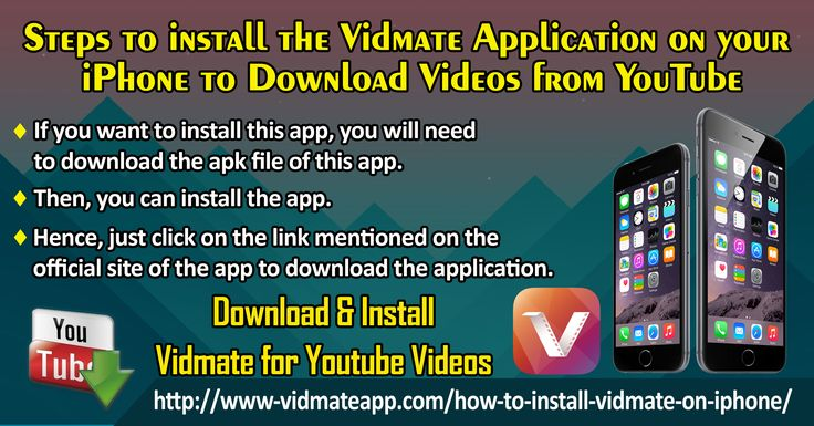 The Vidmate is an application which can download each and every video from YouTube, Dailymotion, Vimeo, LiveLeak and other video streaming sites. As this is an android based application but you can use this app on both mobile and PC.  Website: http://www-vidmateapp.com/how-to-install-vidmate-on-iphone/