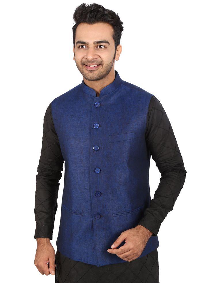 Deep Blue European Linen Nehru Jacket (SS 2016)