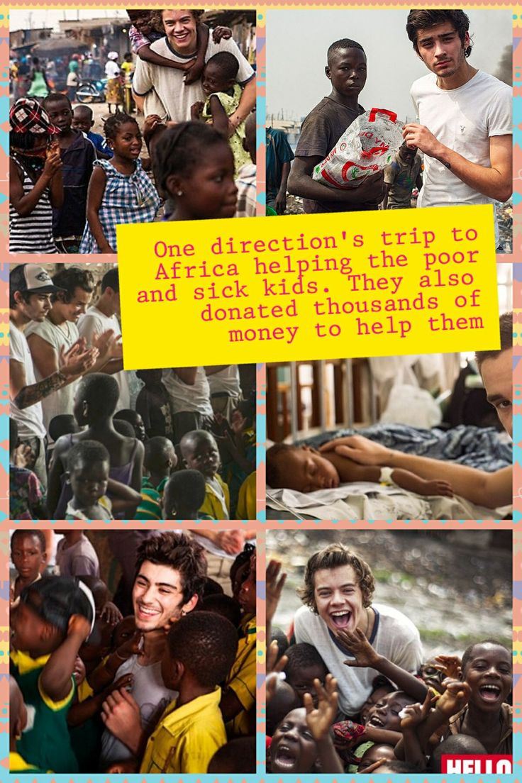 One direction's trip to Africa helping the poor and sick kids. They also donated thousands of money to help them