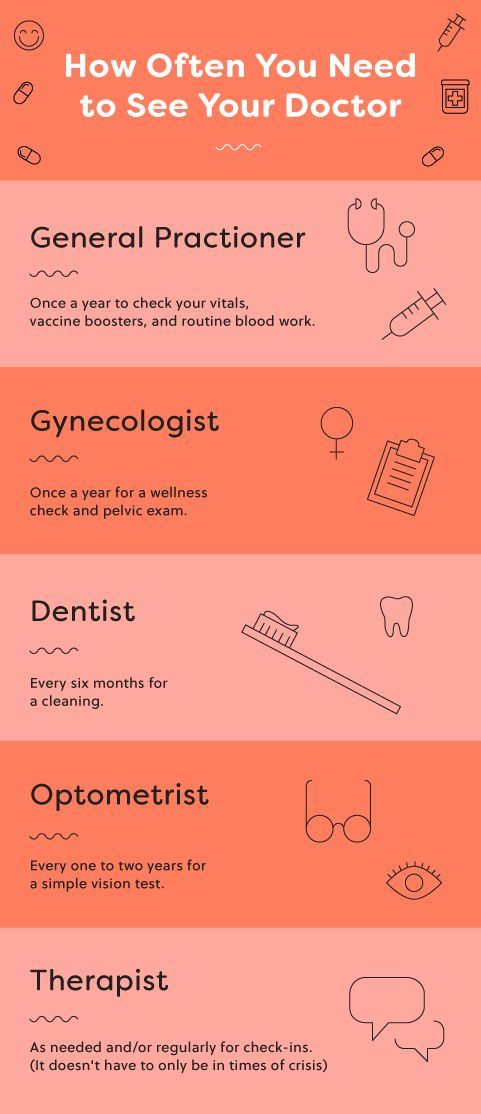 Save this infographic as a master checklist of doctors you need to see and how often you need to see them. From your general practitioner to your gynecologist to your dentist to your optometrist to your therapist or other mental health professional.