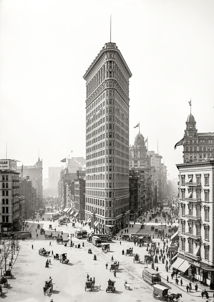 The Flatiron Building. The iconic New York City skyscraper, The Flatiron, circa 1903. Detroit Publishing Company photo courtesy of Shorpy. (s/n/18231)