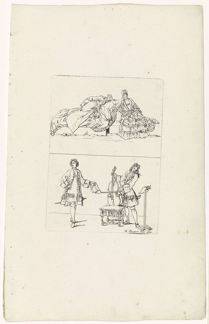 anoniem | Blad met manier waarop vrouwen rusten en een manier waarop heren muziek maken, workshop of Bernard Picart, 1710 | Twee voorstellingen op één blad. Boven: een vrouw rust op een ligbed met haar hondje. De ander leunt er tegen aan. Ze dragen eigentijdse kleding. Onder: twee Franse edelmannen in eigentijdse kleding. Eén van hen bespeelt de cello, die hij steunt op een taboeret, en kijkt naar de bladmuziek op zijn standaard. De ander heeft een hoed in de hand.