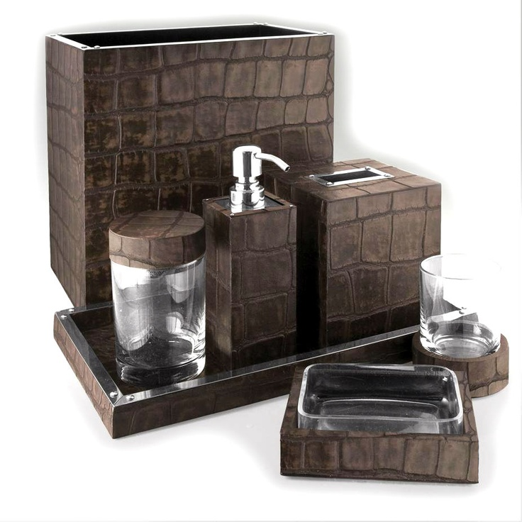 Bathroom sets luxury designer chocolate crocodile leather for Bathroom remodel 3000