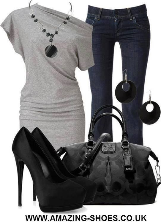 Dark wash jeans with a long short sleeve boat neck stretch gray tee shirt and a black patterned Coach purse. Black platform pumps, a black beaded pendant necklace and black hoop earrings.
