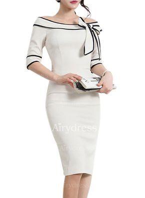 Vestidos Poliéster Bloques de colores Hasta las rodillas Media manga (1049087) @