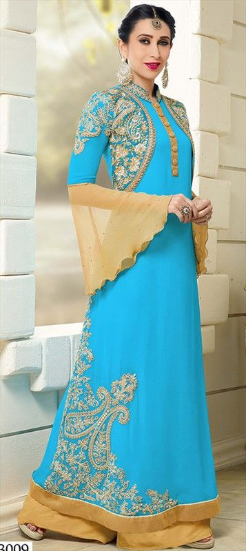 445883 Blue  color family Bollywood Salwar Kameez in Faux Georgette fabric with Machine Embroidery, Zardozi work .