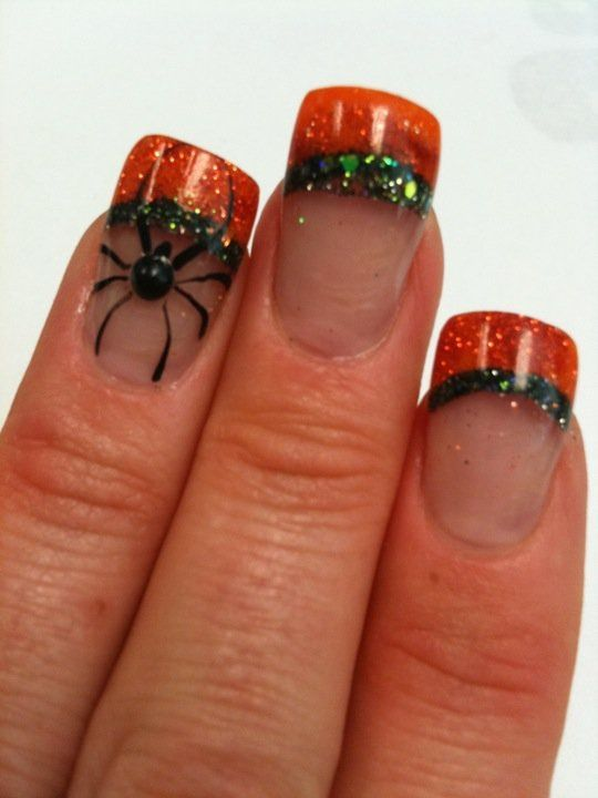 My nails - Halloween nails, fall nails, orange and green glitter, acrylic, nail art