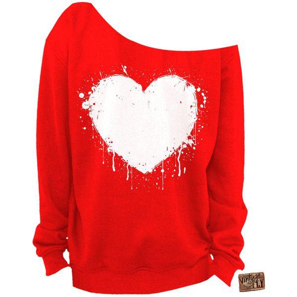 Ladies Valentine's Day Shirt Heart Slouchy Sweatshirt Grunge Splatter... ($25) ❤ liked on Polyvore featuring tops, hoodies, sweatshirts, shirts, dark orange, women's clothing, grunge shirts, graphic design shirts, unisex shirts and cut loose shirt