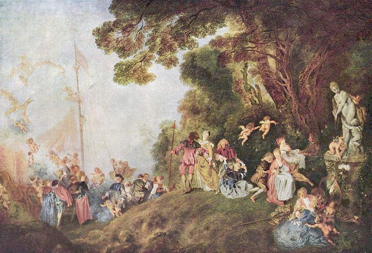 """""""Imbarco per Citera"""", Antoine Watteau, 1718;  olio su tela, 129x194 cm. Seconda versione del precedente """"Pellegrinaggio a Citera"""", l'opera venne commissionata  su  da Jean de Julienne, amico di Watteau. Entrò a far parte della collezione d'arte di Federico II e fu poi destinata al Castello di Charlottenburg."""