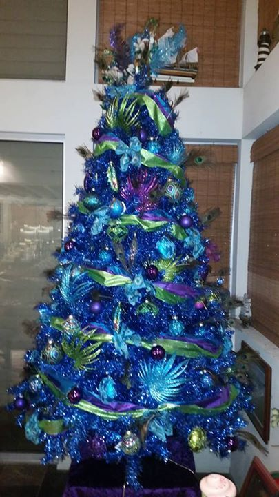 how about reinventing christmas this year darryl cornforth durans peacock inspired blue christmas tree - Blue Christmas Trees