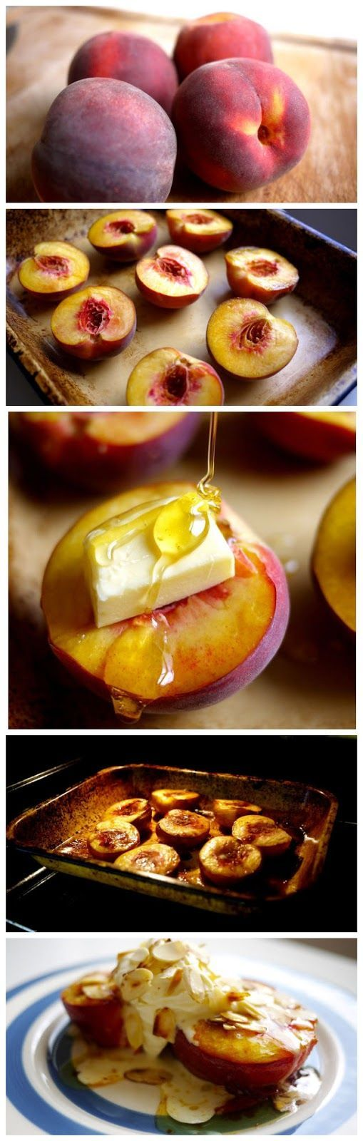 Honey roast peaches. So good, and really easy. Just chop em in half and stick em in the oven.