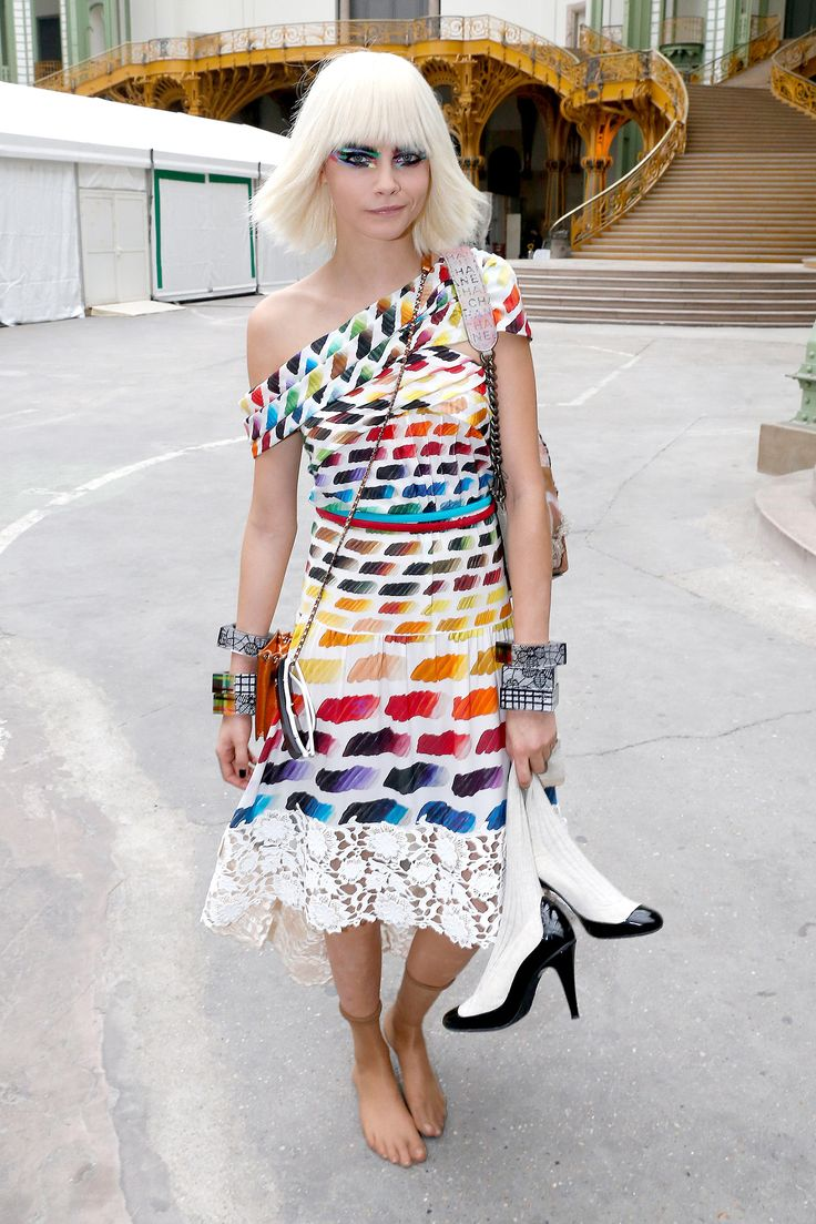 Cara Delevingne wore a rainbow frock for Chanel.