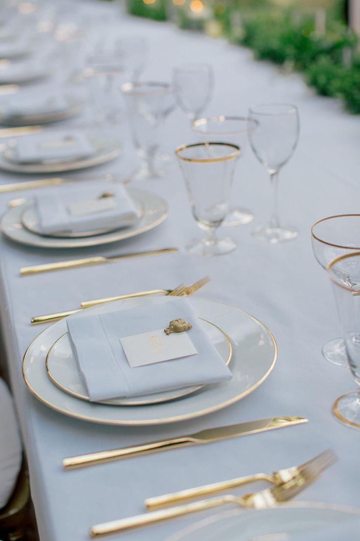 Gold Rim Dinnerware, Mirror Gold Flatware, Gold Rim Vintage Glassware by Set Maui elegant wedding inspiration, table top ideas. Chris J Evans Photography