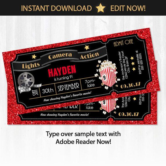 Movie Ticket Invitations   Movie Party Invitations   Hollywood Theme Party    Hollywood Party Invitations   INSTANT DOWNLOAD! Edit NOW