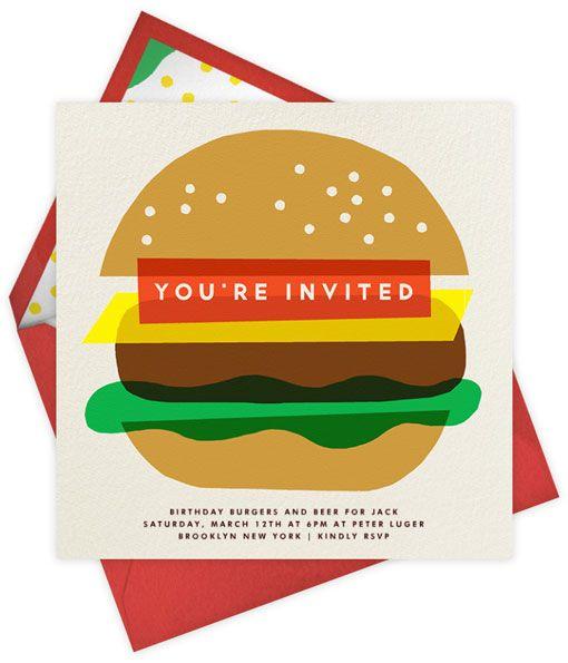 Hamburger invitation. Erin Jang for Paperless Post