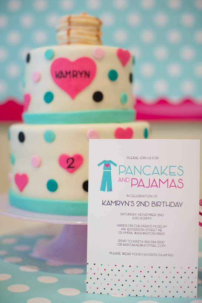 Polka dot cake and invitations from a pancakes & pajamas birthday party! See more party planning ideas at CatchMyParty.com!
