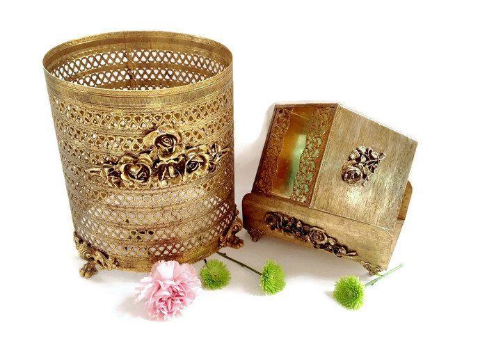 Vintage Gold Bathroom Accessories - Gold Ormolu - Hollywood Regency Vanity Decor by VintageModernHip on Etsy